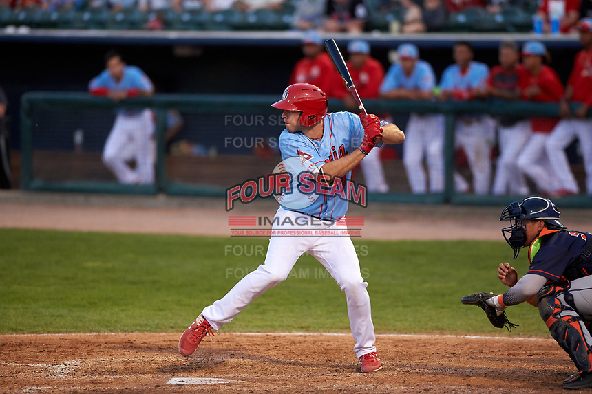 Peoria Chiefs designated hitter Brady Whalen (7) during a Midwest League game against the Bowling Green Hot Rods at Dozer Park on May 5, 2019 in Peoria, Illinois. Peoria defeated Bowling Green 11-3. (Zachary Lucy/Four Seam Images)