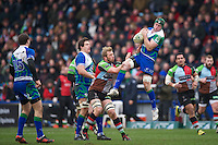Eoin McKeon of Connacht Rugby takes the high ball as Chris Robshaw of Harlequins attempts to stop him during the Heineken Cup match between Harlequins and Connacht Rugby at The Twickenham Stoop on Saturday 12th January 2013 (Photo by Rob Munro).
