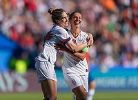 PARIS,  - JUNE 16: Carli Lloyd #10 celebrates her goal with Morgan Brian #6 during a game between Chile and USWNT at Parc des Princes on June 16, 2019 in Paris, France.