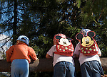 Italy, South Tyrol, Alto Adige, Dolomites, Moso: hiking region Prati di Croda Rossa, children, Mickey-Mouse daypack, looking over fence