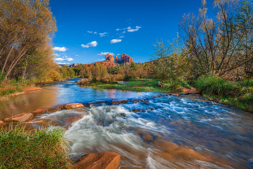 Recognized in the 6th Annual Pollux Awards, organized by the Worldwide Photography Gala Awards in the United Kingdom.<br /> <br /> This image shows Cathedral Rock reflected in the swirling waters of Oak Creek at Red Rock Crossing State Park in Sedona, Arizona.