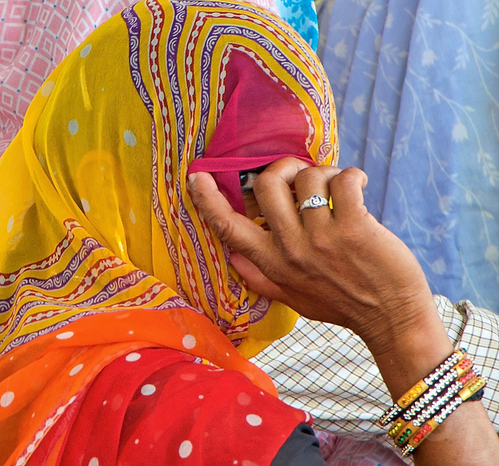 Eye contact - Hindu Ceremony in the Rural Area, Rajasthan, India