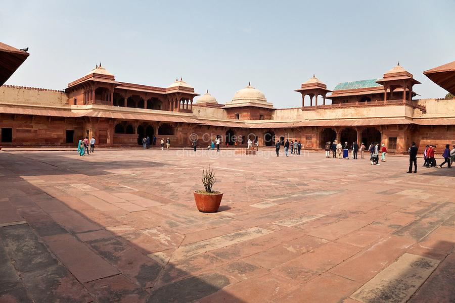 Fatehpur Sikri, Uttar Pradesh, India.  Interor Courtyard of  Jodhbai's Palace, Residence of the Emperor's Senior Wives.