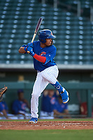 AZL Cubs 1 Fabian Pertuz (12) at bat during an Arizona League game against the AZL Padres 1 on July 5, 2019 at Sloan Park in Mesa, Arizona. The AZL Cubs 1 defeated the AZL Padres 1 9-3. (Zachary Lucy/Four Seam Images)