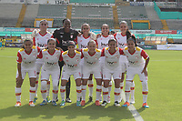 NEIVA  -COLOMBIA, 8-04-2017. Team womens Indepenediente Santa Fe.Action game between Atletico Huila and Independiente  Santa Fe .  during match for the date  of the Women´s  Aguila League I 2017 played at Guillermo Plazas Alcid stadium . Photo:VizzorImage / Sergio Reyes   / Contribuidor
