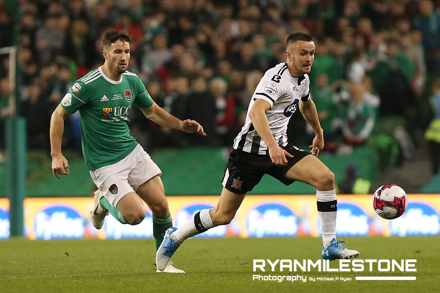 Michael Duffy of Dundalk in action against Gearoid Morrissey of Cork City during the Irish Daily Mail FAI Cup Final between Dundalk and Cork City, on Sunday 4th November 2018, at the Aviva Stadium, Dublin. Mandatory Credit: Michael P Ryan.