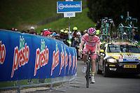Maglia Rosa Steven Kruijswijk (NLD/LottoNL-Jumbo) speeding along to the (equaly fastest time)<br /> <br /> stage 15 (iTT): Castelrotto-Alpe di Siusi 10.8km<br /> 99th Giro d'Italia 2016