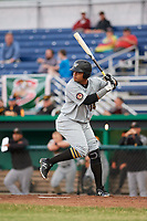 West Virginia Black Bears designated hitter Jhoan Herrera (14) at bat during a game against the Batavia Muckdogs on June 18, 2018 at Dwyer Stadium in Batavia, New York.  Batavia defeated West Virginia 9-6.  (Mike Janes/Four Seam Images)