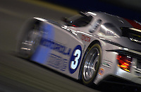 .The Cegwa Sport Toyota/Fabcar turns into the 1st. horseshoe during night practice...