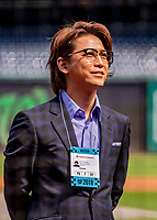22 September 2018: Japanese media personality Kazuya Kamenashi watches batting practice prior to a baseball game between the Washington Nationals and the New York Mets at Nationals Park in Washington, DC. The Nationals shut out the Mets 6-0 in the 3rd game of their 4-game series. Mandatory Credit: Ed Wolfstein Photo *** RAW (NEF) Image File Available ***