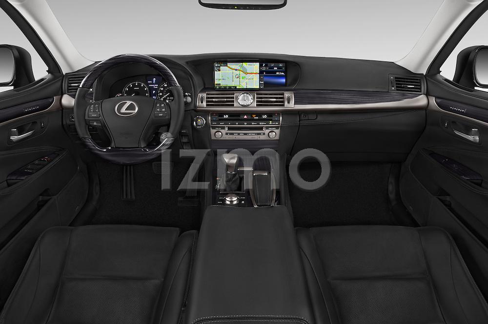 Stock photo of straight dashboard view of a 2015 Lexus LS 460 4 Door Sedan