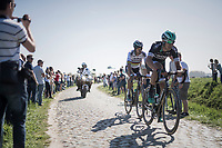 World Champion Peter Sagan (SVK/Bora-Hansgrohe) is piloted to the 2 race leaders by teammate Maciej Bodnar (POL/Bora-Hansgrohe)<br /> <br /> 115th Paris-Roubaix 2017 (1.UWT)<br /> One Day Race: Compiègne › Roubaix (257km)