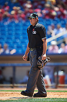 Umpire Derek Thomas during a game between the South Bend Cubs and Lake County Captains on July 27, 2016 at Classic Park in Eastlake, Ohio.  Lake County defeated South Bend 5-4.  (Mike Janes/Four Seam Images)