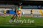 Micheál Burns, Kerry, in action against Cillian Rouine, Clare, during the Munster Football Championship game between Kerry and Clare at Fitzgerald Stadium, Killarney on Saturday.