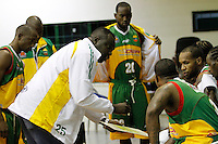 MANIZALES -COLOMBIA, 30-09-2013. Entrenador de Caribbean da instrucciones durante el partido entre Manizales Once Caldas y Caribbean Heat Cartagena en la fecha 21 Liga DirecTV de Baloncesto 2013-II de Colombia jugado en el coliseo Jorge Arango de la ciudad de Manizales./ Coach of Caribbean gives directions during the match between Manizales Once Caldas and Caribbean Heat Cartagena on the 21th date of DirecTV Basketball League 2013-II in Colombia at Jorge Arango coliseum in Manizales. Photo:VizzorImage / Yonboni / STR