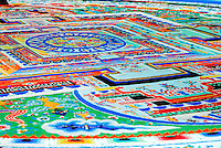 Sand mandala, or kilkhor in Tibetan, painstakingly created from grains of sand then collected in a jar and returned into running water, represents the impermanence of things, at Ngagpa College Drepung Monastery, Lhasa, Tibet, China..