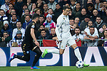 Lorenzo Insigne of SSC Napoli competes for the ball with Cristiano Ronaldo of Real Madrid  during the match of Champions League between Real Madrid and SSC Napoli  at Santiago Bernabeu Stadium in Madrid, Spain. February 15, 2017. (ALTERPHOTOS)