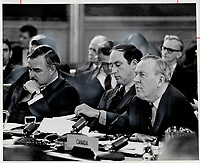 1968 FILE PHOTO - ARCHIVES -<br /> <br /> If we lack the courage to choose; or choose wrongly; we will leave out children a country in fragments; Prime Minister Lester B. Pearson; right; warned at the first federal provincial constitutional conference in 1968. Ontario Premier John Robarts; left; had launched the constitutional review; and Pierre Trudeau; then justice minister; carried it through to the ill-fated 'Victoria Charter;' which Quebec has now rejected<br /> <br /> PHOTO : Reg INNELL - Toronto Star Archives - AQP