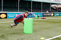 London Scottish warming up during the Greene King IPA Championship match between Ealing Trailfinders and London Scottish Football Club at Castle Bar , West Ealing , England  on 19 January 2019. Photo by Carlton Myrie/PRiME Media Images