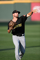 Starting pitcher Steven Moyers (17) of the West Virginia Power warms up before a game against the Greenville Drive on Friday, May 17, 2019, at Fluor Field at the West End in Greenville, South Carolina. West Virginia won, 10-4. (Tom Priddy/Four Seam Images)