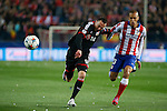 Atletico de Madrid´s Joao Miranda (R) and Bayer 04 Leverkusen´s Drmic during the UEFA Champions League round of 16 second leg match between Atletico de Madrid and Bayer 04 Leverkusen at Vicente Calderon stadium in Madrid, Spain. March 17, 2015. (ALTERPHOTOS/Victor Blanco)