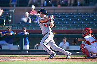 Surprise Saguaros third baseman Chris Paul (21), of the Minnesota Twins organization, follows through on his swing during an Arizona Fall League game against the Scottsdale Scorpions on October 27, 2017 at Scottsdale Stadium in Scottsdale, Arizona. The Scorpions defeated the Saguaros 6-5. (Zachary Lucy/Four Seam Images)