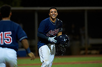 AZL Indians Red Yainer Diaz (4) celebrates after hitting a walk-off home run to end an Arizona League game against the AZL Padres 1 on June 23, 2019 at the Cleveland Indians Training Complex in Goodyear, Arizona. AZL Indians Red defeated the AZL Padres 1 3-2. (Zachary Lucy/Four Seam Images)