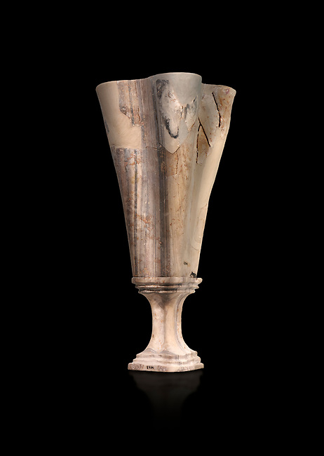 Minoan marble fluted chalice with fine four fold walls, Zakros central sanctuary complex 1500-1400 BC; Heraklion Archaeological  Museum, black background.