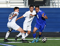 NWA Democrat-Gazette/CHARLIE KAIJO Rogers High School Félix Escobar (6) dribbles during a soccer game, Friday, April 26, 2019 at  Whitey Smith Stadium at Rogers High School in Rogers.
