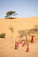 Women preparing and working on waterholes at the base of a large sand dune this is for  collecting rain water later for the very short rainy season in the Thar Desert Rajasthan, India.