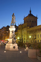 plaza mayor Statue of Count Anzures town hall Valladolid spain castile and leon