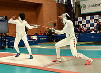 BOGOTA – COLOMBIA – 27 – 05 – 2017: Tatiana Gudkova (Izq.) de Rusia, combate con Malinka Montanaro (Der.) de Canada, durante Damas Mayores Epee del Gran Prix de Espada Bogota 2017, que se realiza en el Centro de Alto Rendimiento en Altura, del 26 al 28 de mayo del presente año en la ciudad de Bogota.  / Tatiana Gudkova (L) from Russia, fights with Malinka Montanaro (R) from Canada, during Senior Women´s Epee of the Grand Prix of Espada Bogota 2017, that takes place in the Center of High Performance in Height, from the 26 to the 28 of May of the present year in The city of