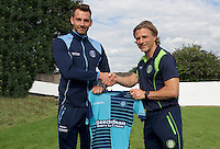 German defender Max Müller (left) signs for Wycombe Wanderers with Manager Gareth Ainsworth at York Road, Maidenhead, England on 30 July 2016. Photo by Alan  Stanford - PRiME Media Images.