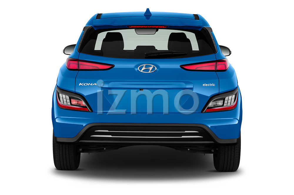 Straight rear view of 2022 Hyundai Kona-Electric Limited 5 Door SUV Rear View  stock images
