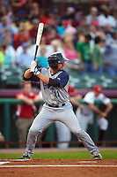 Brooklyn Cyclones second baseman Vincent Siena (11) at bat during a game against the Tri-City ValleyCats on September 1, 2015 at Joseph L. Bruno Stadium in Troy, New York.  Tri-City defeated Brooklyn 5-4.  (Mike Janes/Four Seam Images)