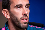 Atletico de Madrid Diego Godin during press conference day before Europa League Semi Finals First Leg at Wanda Metropolitano in Madrid, Spain. May 02, 2018.  (ALTERPHOTOS/Borja B.Hojas)