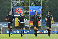 referee team with from L to R : Bryan Bijnens   Tom Stevens   Michiel Allaerts and Michele Seeldraeyers pictured during the warming up of a friendly soccer game between the national teams Under19 Youth teams of Belgium and Germany on tuesday 8 th of September 2020  in Genk , Belgium . PHOTO SPORTPIX.BE | SPP | DIRK VUYLSTEKE