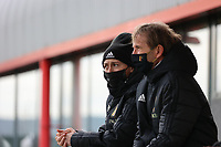 Assistant coach Audrey Demoustier and Assistant coach Luc Bosmans pictured during the training session of the Belgian Women's National Team ahead of a friendly female soccer game between the national teams of Germany and Belgium , called the Red Flames in a pre - bid tournament called Three Nations One Goal with the national teams from Belgium , The Netherlands and Germany towards a bid for the hosting of the 2027 FIFA Women's World Cup ,on 19th of February 2021 at Proximus Basecamp. PHOTO: SEVIL OKTEM | SPORTPIX.BE