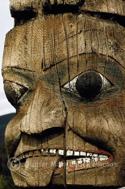 Close Up Detail of Gitxsan (Gitksan) Totem Pole, Kispiox, Northern British Columbia, Canada