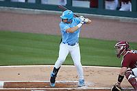 Danny Serretti (1) of the North Carolina Tar Heels at bat against the South Carolina Gamecocks at Truist Field on April 6, 2021 in Charlotte, North Carolina. (Brian Westerholt/Four Seam Images)
