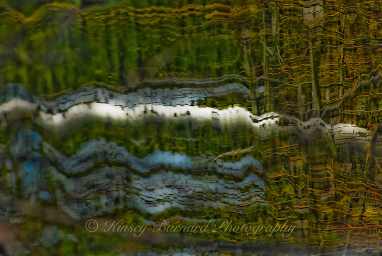 """""""LAY ME DOWN""""<br /> <br /> The reflection of a birch tree trunk wavers in cool dark waters. The water looking like an impressionist painting. Another great example of Nature's artistry on water. Abstract photograph. This photograph was shot as a vertical landscape. I took the liberty of laying it down. ORIGINAL 24 X 36 GALLERY WRAPPED CANVAS SIGNED BY THE ARTIST $2,500. CONTACT FOR AVAILABILITY."""