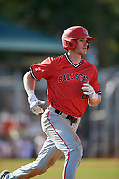 Ball State Cardinals right fielder Ross Messina (23) runs to first base during a game against the Mount St. Mary's Mountaineers on March 9, 2019 at North Charlotte Regional Park in Port Charlotte, Florida.  Ball State defeated Mount St. Mary's 12-9.  (Mike Janes/Four Seam Images)