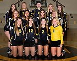 August 28, 2017- Tuscola, IL- The 2017 Tuscola Warrior Varsity Volleyball team. Back from left are Rachel Manselle, Cassie Russo, Karli Dean, Allison Clark, and Gemini Pettry. Middle row from left are Lexie Russo, Daria Calanchini, Maddie Green, and Ashton Clark. Front row from left are Kyra Moyer, McKinlee Miller, Isabelle Shelmadine, and Natalie Bates.  [Photo: Douglas Cottle]
