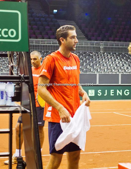 September 11, 2014, Netherlands, Amsterdam, Ziggo Dome, Davis Cup Netherlands-Croatia, practise<br /> Photo: Tennisimages/Henk Koster