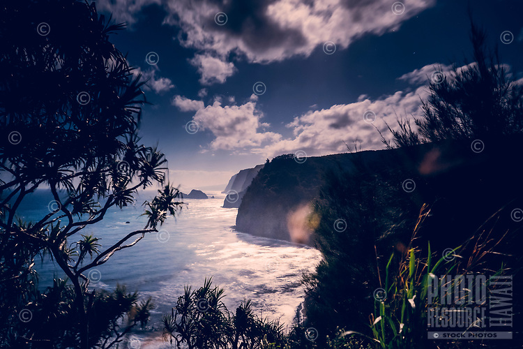The coastline as seen from the Awini Trail going down into Pololu Valley, North Kohala, Big Island of Hawaiʻi.
