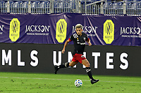 NASHVILLE, TN - SEPTEMBER 23: Yamil Asad #11 of DC United plays the ball during a game between D.C. United and Nashville SC at Nissan Stadium on September 23, 2020 in Nashville, Tennessee.