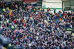 31.03.2019 Celtic v Rangers: Ryan Kent scores and Rangers fans celenrate