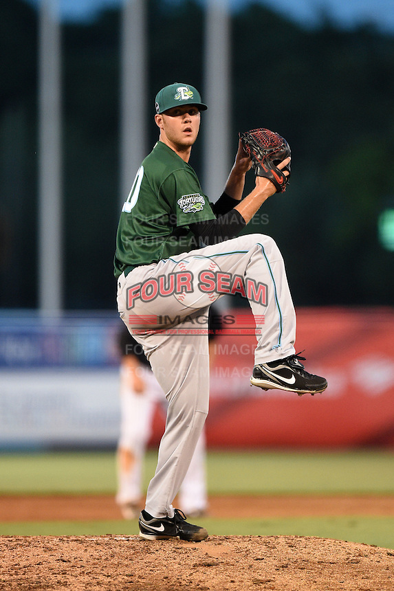 Daytona Tortugas pitcher Joel Bender (20) delivers a pitch during a game against the Tampa Yankees on April 24, 2015 at George M. Steinbrenner Field in Tampa, Florida.  Tampa defeated Daytona 12-7.  (Mike Janes/Four Seam Images)