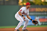 Third baseman Bobby Dalbec (23) of the Greenville Drive in a game against the Asheville Tourists on Tuesday, May 2, 2017, at Fluor Field at the West End in Greenville, South Carolina. Asheville won, 7-1. (Tom Priddy/Four Seam Images)