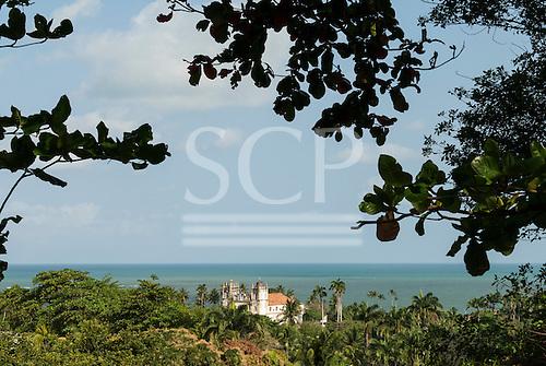 Olinda, Pernambuco State, Brazil. Carmo church (igreja), Mata Atlantica forest and sea.
